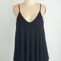 Mid-length Spaghetti Straps Let's Tier It for the Poise Top in Black
