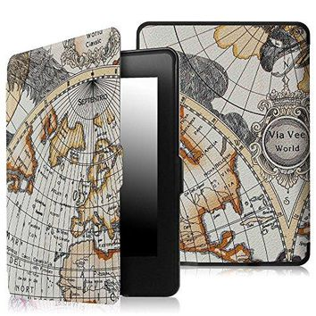 Fintie SmartShell Case for Kindle Paperwhite - The Thinnest and Lightest PU Leather Cover Auto Sleep/Wake for All-New Amazon Kindle Paperwhite (Fits All 2012, 2013, 2015 and 2016 Versions), Map White