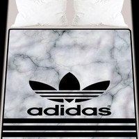 Adidas White Marble New Arrival Soft Blanket High Quality 58 x 80 Inch