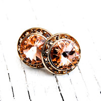 Peach Swarovski Crystal Earrings