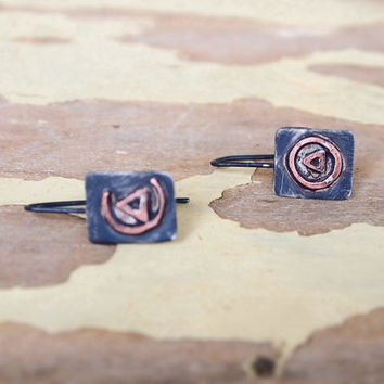 Fire of rotation and fire of circulation - alchemy symbols earrings - mixed metal dainty earrings - mismatched spiritual earrings