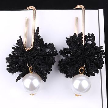 ES527 Simulated Pearls Lace Drop Earrings Crystal Fashion Jewelry boucle d'oreille Long Tassel Earring Women Dangle Brincos