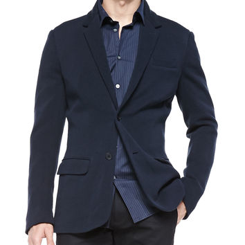 Two-Button Sweater Jacket, Indigo, Size: