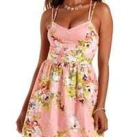 Soft Pink Combo Floral Print Strappy Skater Dress by Charlotte Russe