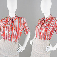 Vintage 60s 70s Red & White Silky Shirt Baroque Print Shirt Womens Mod Blouse Chain Print Vertical Stripe Top Collared Shirt 1960s Blouse
