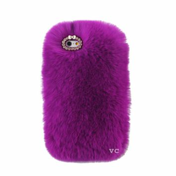 COZY FUR PHONE CASE PURPLE