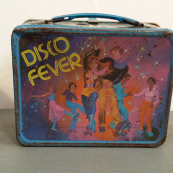 Vintage Metal Thermos Disco Fever 1980s Lunch Box Great for Retro Decor Storage