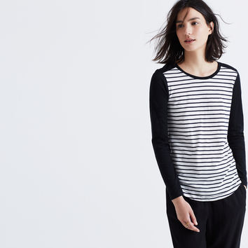 Whisper Cotton Long-Sleeve Crewneck Tee in Stripeblock