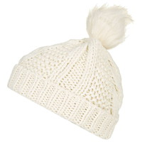 Cable Knit Fur Pom Beanie - Hats - Bags & Accessories