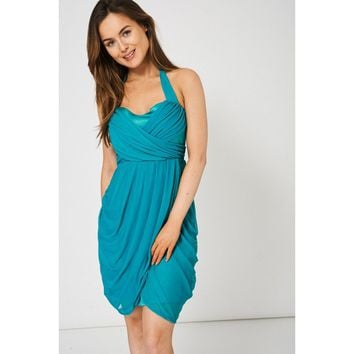 Teal Dress With Pleated Detail & Tulip Style Skirt