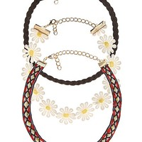 DAISY CHAIN & RIBBON CHOKER NECKLACES - 3 PACK
