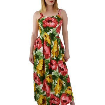 60s Painterly Floral Print Maxi Dress-S