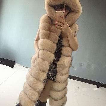 Best Quality Natural Fox Fur Coat Jacket Hooded Real Fur Vest For Women's Long Genuine Fur Waistcoat Customize 5XL