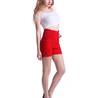 Red High Waisted Sailor Shorts