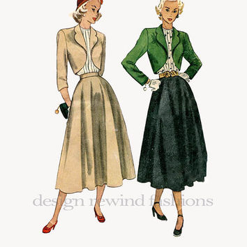 1940s Womens BOLERO JACKET Suit Scalloped Collar Flared Skirt Jewel Collar Blouse Bust 36 Post WWII Simplicity 2372 Vintage Sewing Pattern