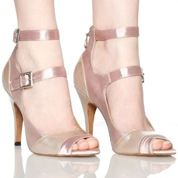 Nude Satin Women's Latin Dance Shoes Ballroom Dancing Shoes Salsa Samba Tango Dance Shoes High Heel
