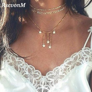 RscvonM Boho Star Moon Multi Layer Pendant Necklace for Women Bohemian Flower Necklaces Vintage Fashion Collar Costume Jewelry