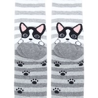 Striped Dog Graphic Socks