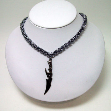 Final Fantasy, Geekery, Mens necklace, FF13, mens jewelry, chainmaille, necklace, sword, video game, geek, gamer.