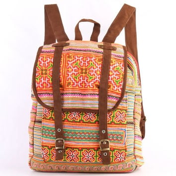 Unique Ethnic Rucksack Backpack Gypsy Bohemian Hippie Bag Vintage HMONG Tribal Fabric
