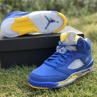 Air Jordan 5 Retro C13287-400 Blue/Yellow