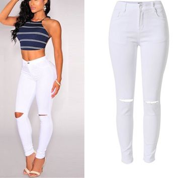 Women High Waist White Jeans Pants Femme Stretch Pencil Pants Denim With Pockets Skinny Ripped Holde Jeans