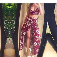 Boho Chic Rustic Floral Two Piece Dress