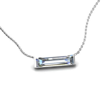 14K White Gold Horizontal Crystal Baguette Necklace