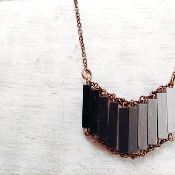 Wood Geometric Necklace // CASABLANCA // Boho-Chic Jewelry // Hand-Painted Necklace // Minimal Jewelry // Modern Necklaces