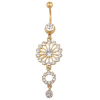New Charming Dangle Crystal Navel Belly Ring Bling Barbell Button Ring Piercing Body Jewelry = 4651258436