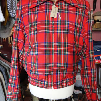 "Vintage 1950s red blue green checked tartan rayon gabardine ricky jacket Conmar zip up 42"" chest rockabilly mod casual Ivy League"