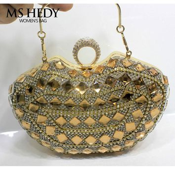 Black Gold Silver Rhinestone Evening Bag Diamonds Clutch Bags Bling Bling Crystal Clutches Small Shoulder Chain Hand Bag