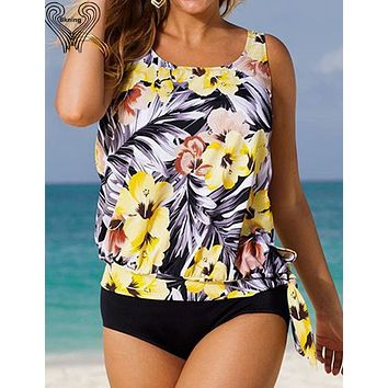 Women's sport suit large size bikini set Plus Size tankini Swimming suit For Women 2017 summer tank top bathing suit h390