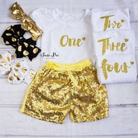 Baby Girl Gold Birthday Clothing..Cake Smash Outfit..Girl Shorts and Top Set..Baby's 1st Birthday Outfit..Photo Prop..Baby Gift..Petti Skirt