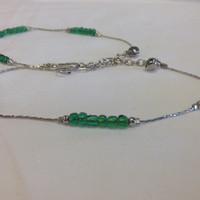 Designer Antique Silver Tone /Plated Anklet / Payal With Green Glass Stone