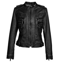 Epaulet Long Sleeve Zipper Design PU Leather Jacket