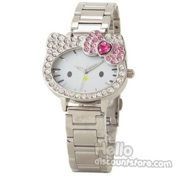 New Sanrio Hello Kitty Rhine Stone Whtie Face Wrist Watch $37.99