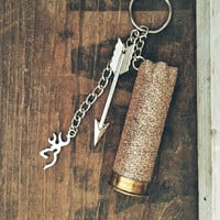 Rose Gold Glittered 12 Gauge Shotgun Shell Keychain with Arrow and Browning Deer Head Charm