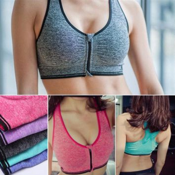 Seamless Stretch Padded Yoga Sports Bra Wire Free Shakeproof Front Zipper  Crop Top