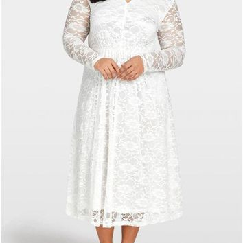 B| Chicloth Women Plus Size Lace Dress Cut Out Front Evening Party Wedding Dress
