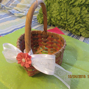 Vintage Heart Shaped Flower Girl Basket With Peach Rose Green Weaving- Stenciled Stars With White Heart Bow-Peach Paper Flower With Bling