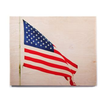 "Sylvia Coomes ""American Flag"" Red Holiday Birchwood Wall Art"