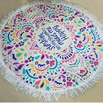 ESBU3C Indian Round Mandala Hippie Tapestry Wall Hanging Throw Towel Boho Beach Yoga Mat with Tassel Shawl Wrap Cotton Home Decor