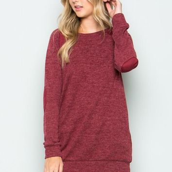 brushed knit elbow patch long sleeve tunic