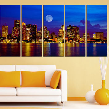 Canvas Print Dallas Skyline at Night 5 Panel - Framed - Streched Dallas Panorama Canvas Printing