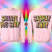 UNISEX Shante You Stay / Sashay Away Rainbow Slimepunk Sweatshirt in Pink // RuPaul's Drag Race // fASHLIN