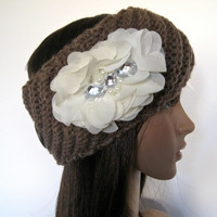 Brown Knit Ear Warmer Headband Head Wrap with Ivory Chiffon Oval Flower with Rhinestone Accents