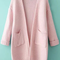 Pink Knit Long Sleeve Cardigan with Pockets