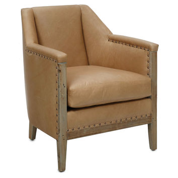 Liam Leather Wing Chair, Cashew, Wingbacks