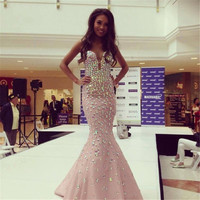 Glamorous Beaded Colorful Rhinestone Long Prom Dresses 2016 Vestido De Festa Sexy Pink Slit Bust Mermaid Formal Party Dress